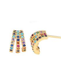 Fashion Colored Paws Cross Diamond C-shaped Inlaid Zircon Earrings