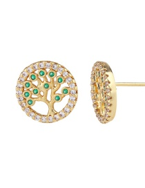 Fashion Golden Life Tree Zircon Full Diamond Life Tree Earrings