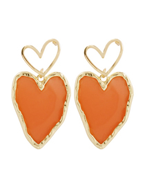 Fashion Orange Alloy Resin Love Earrings