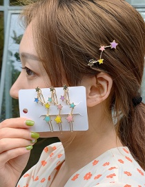 Fashion Blue Alloy Drop Oil Star Hair Clip