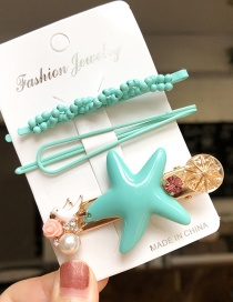 Fashion Blue Starfish Alloy Resin Hairpin