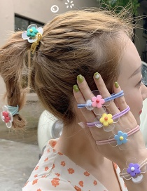Fashion Green Flower Soft Pottery Flower Hair Ring