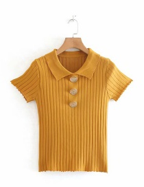 Fashion Ginger Yellow Polo Collar Wooden Ear Buttoned Knit Top