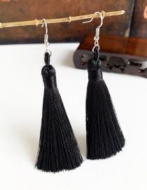 Fashion Black Alloy Tassel Earrings