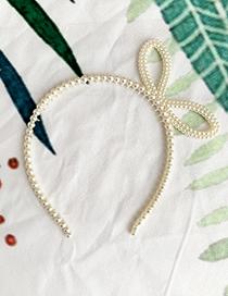 Fashion Openwork Bow Resin Imitation Pearl Headband