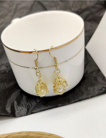 Fashion Gold Metal Hollow Drop Pearl Earrings