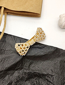 Fashion Gold Pearl Bow Earrings Openwork Hair Clip Set