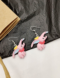 Fashion Pink Cartoon Flying Elephant Earrings