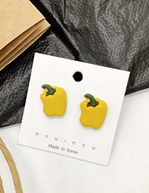 Fashion Yellow Pepper 925 Silver Needle Fruit And Vegetable Earrings