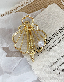 Fashion Scallop-golden Pearl Metal Shell Hairpin