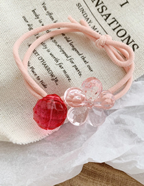 Fashion Pink Flower Transparent Crystal Flower Hair Rope