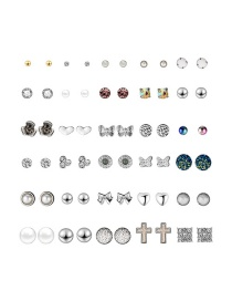 Fashion Color Cross-studded Earrings Set (30 Pairs)
