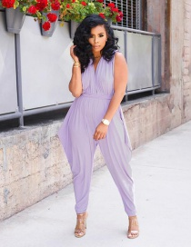 Fashion Purple Deep V-neck Tie Jumpsuit