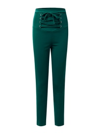 Fashion Dark Green High Waist Strap Elastic Pants
