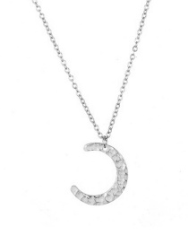 Fashion Steel Color Stainless Steel Moon Necklace