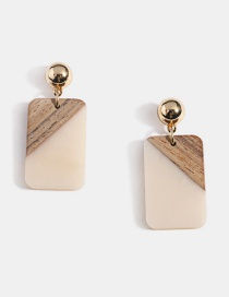 Color Resin Color Matching Solid Wood Pattern Geometric Earrings