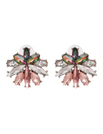Color Glass Diamond Inlaid Flower Earrings