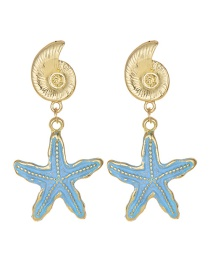 Blue Alloy Conch Starfish Stud Earrings