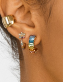 Fashion Color Alloy Geometry T Drill Crystal Gem C Stud Earrings