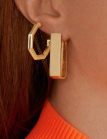 Fashion Gold Alloy Geometric Polygonal Earrings