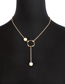 Fashion Gold Natural Freshwater Pearl Round Geometric Necklace