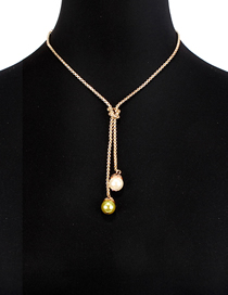 Fashion Gold Imitation Pearl Double Knotted Necklace