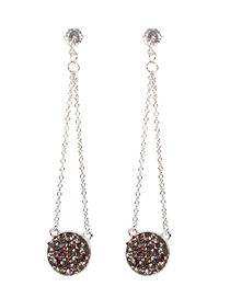 Fashion Rose Red S925 Silver Pin Studded Round Earrings