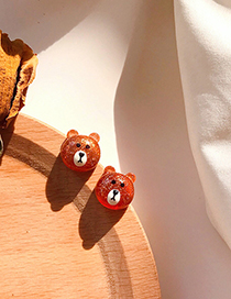 Fashion Brown Brown Bear 925 Silver Needle Kids Acrylic Earrings