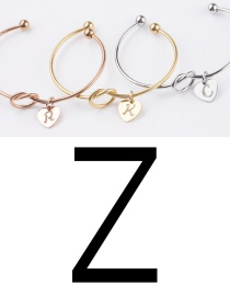 Fashion Rose Gold Z Stainless Steel Love Knotted English Letter Open Bracelet