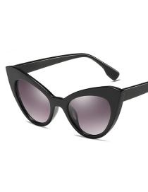 C01 Bright Black Frame Double Gray Small Box Cat Eye Sunglasses