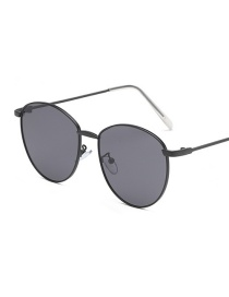 Black Frame Black Gray Piece Round Small Frame Metal Ocean Piece Sunglasses