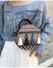 Blue Woolen Hand Strap Shoulder Crossbody Bag