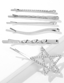 Fashion White K Six-piece Alloy Diamond-studded Five-pointed Star Hairpin