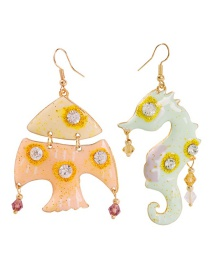 Fashion Color Alloy Diamond-studded Fish Hippocampus Earrings