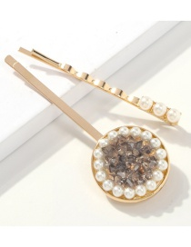 Fashion Crystal Black Alloy Pearl Crystal Hair Clip