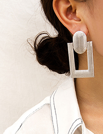 Fashion White K Hollow Square Bump Pleat Round Stitching Stud Earrings