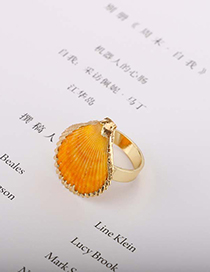 Fashion Gold Gold-plated Edging Shell Shiny Alloy Ring