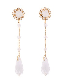 Fashion Protein Alloy Pearl Crystal Stud Earrings