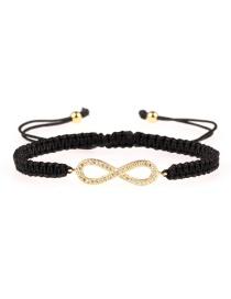 Fashion Black 8-shaped Micro-set Woven Bracelet