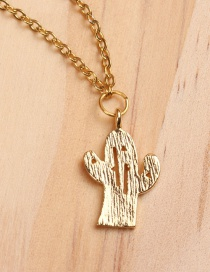 Fashion Cactus Gold Titanium Steel Plated Gold Necklace