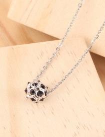 Fashion Silver Hollow Ball Football Necklace