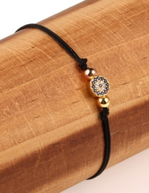 Fashion Blue Eyes Black Plated Gold And Diamond Braided Hand Rope