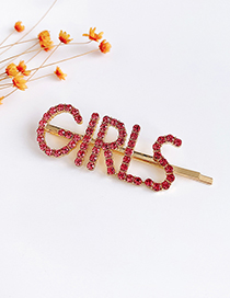 Fashion Red Alloy Diamond Letters Girls Hairpin