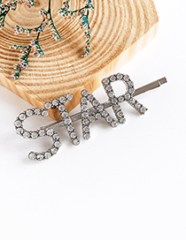 Fashion Silver Alloy Diamond Letter Star Word Hairpin