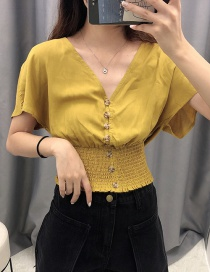 Fashion Ginger Yellow Elasticated High-rise Single-breasted V-neck Shirt