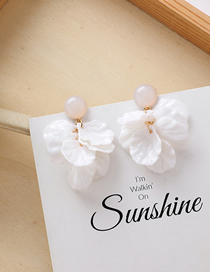 Fashion White Petal Fringed Multi-layer Earrings