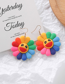 Fashion Stud Earrings Color Flower Smiley Earrings
