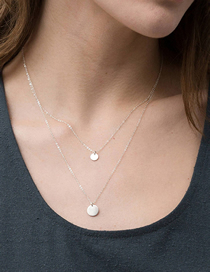 Fashion Steel Color Double Stainless Steel Round Necklace