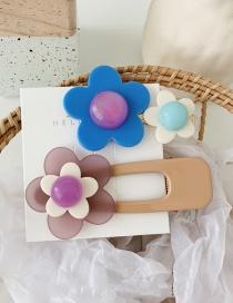 Fashion Blue Flower+light Purple Flower Contrast Flower Hair Clip