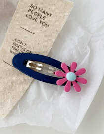 Fashion Navy Blue Bb Clip Contrast Flower Hair Clip